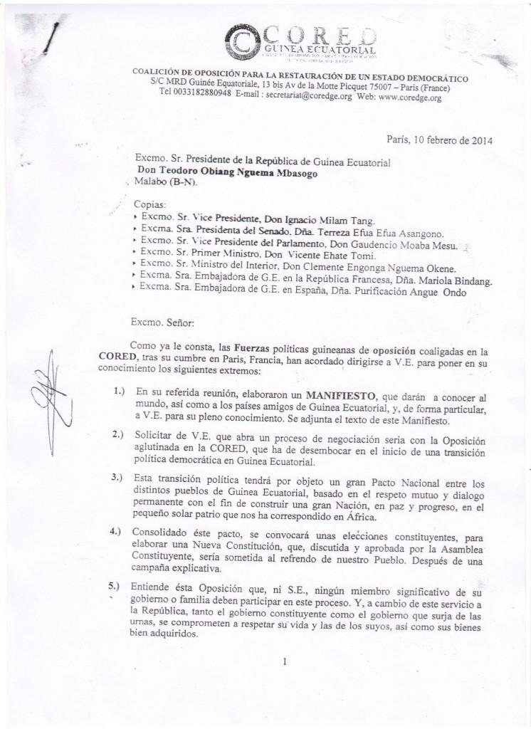 Carta completa de la CORED dirigida a Obiang Nguema Mbasogo e Instituciones
