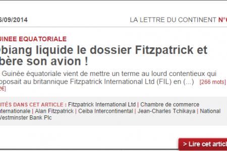 Guinea Ecuatorial ha pagado 12.2 millones de € que le debía a Fitzpatrick Ecuatorial Guinea Ltd