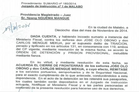 LA REALIDAD DE LA DETENCIÓN DE JOSÉ OLÓ OBONO Y CARLOS MANGUE MEKUA