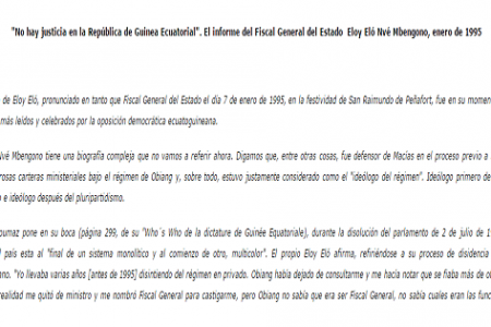 """""""No hay justicia en la República de Guinea Ecuatorial"""". Eloy Eló Nvé Mbengono, enero de 1995"""