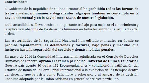 El Gobierno de Guinea Ecuatorial denuncia las gravísimas y falsas informaciones difundidas por la organización Amnistía Internacional en su informe de 2014-2015 acerca de nuestro país.