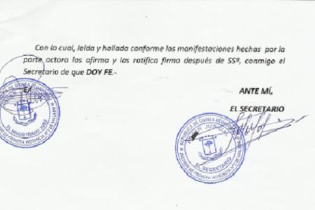 Testimonio del Acto de Conciliación entre Andres Esono y Crisantos Ondo