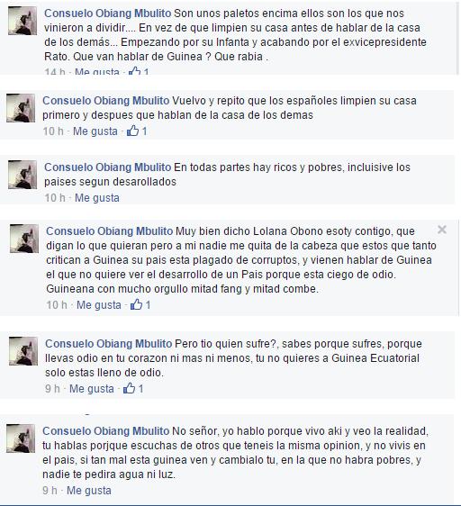 """Consuelo Obiang Mbulito """"incendia las redes sociales incitando al odio a España"""""""