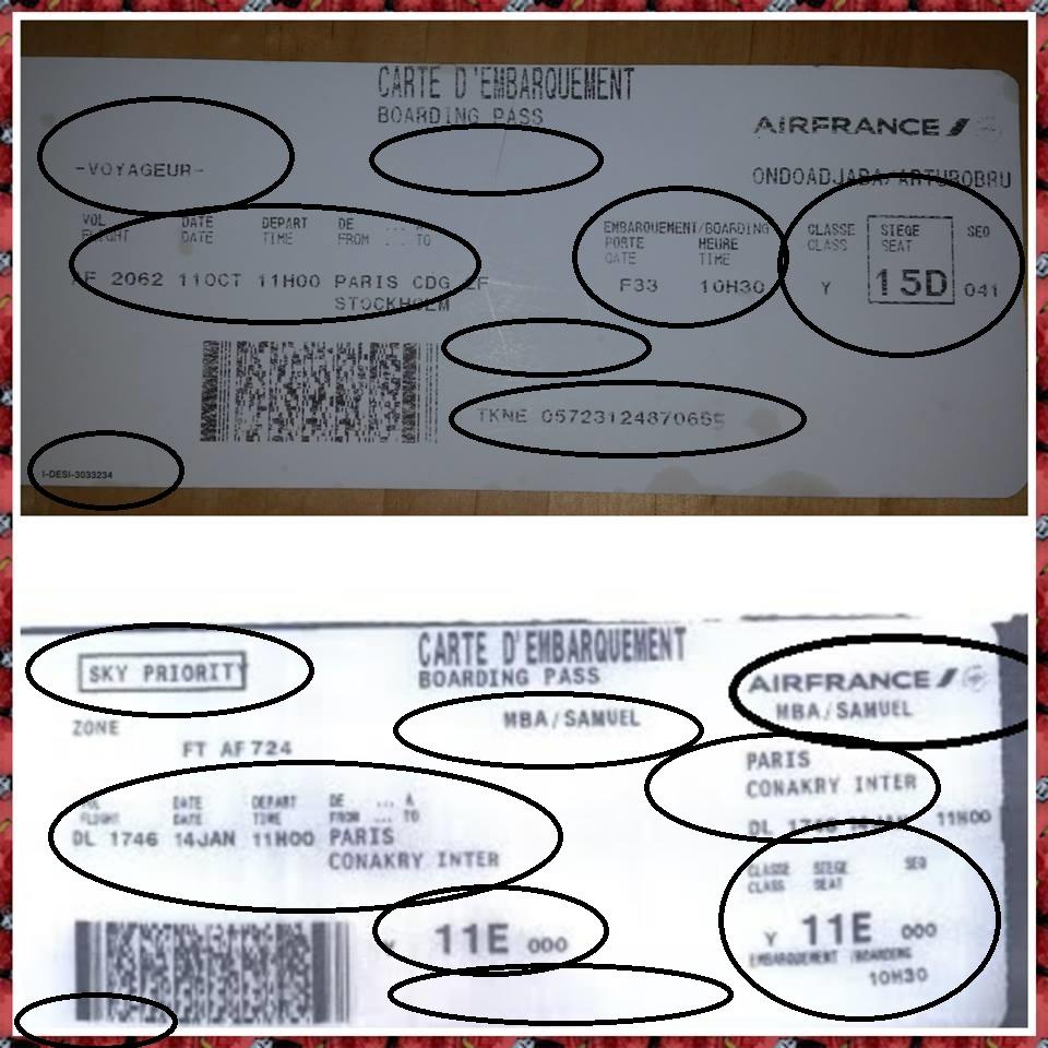 Tarjeta de Embarque Aire France (1) y Tarjeta de Embarque Aire France (2) falsificado.