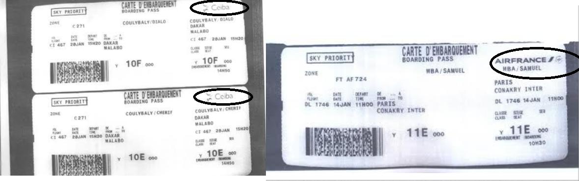 Las tarjetas de embarque falsificadas por el Gobierno de Guinea Ecuatorial y presentada por Crisantos Obama Ondo. Las falsificaciones fueron realizadas con el mismo papel y formato. Tan sólo sustituyeron los logos.