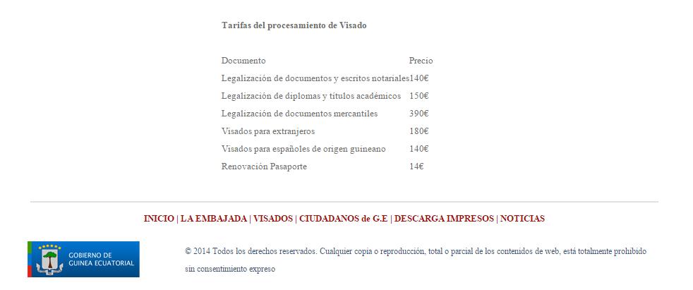Tarifas de Embajada de Guinea Ecuatorial en Madrid