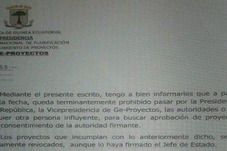 "Obiang Jiménez ""no se firmará ningún proyecto aunque tenga la firma del Presidente Obiang"""