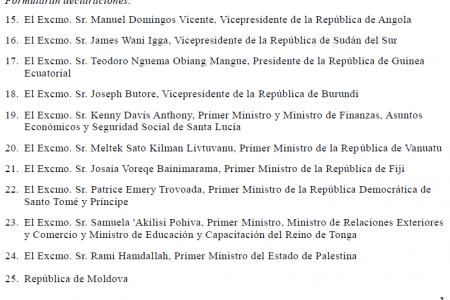 Nguema Obiang figura en el documento final de la Cumbre como Presidente de Guinea E.