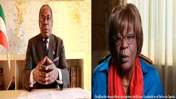 "Severo Moto Nsa ""Presidente de Guinea en Madrid"" & Purificación Angue Ondo Embajadora de Guinea Ecuatorial en Madrid."