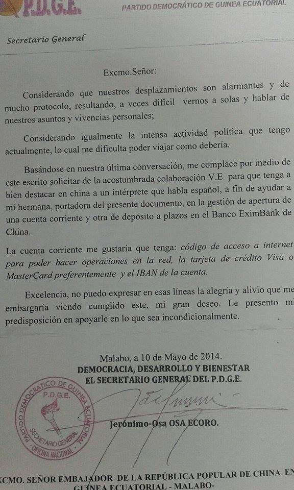 El secretario general del PDGE estaría ingresando ingentes sumas de dinero en EximBank de China