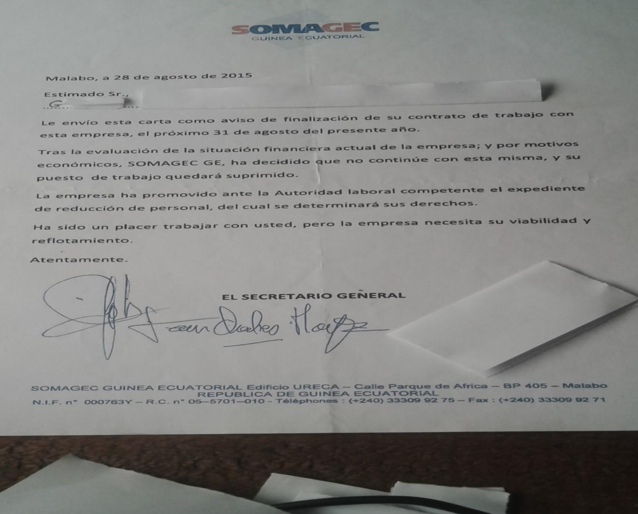 La carta de suspensión de empleo que cada empleado/a recibió el día 28 de agosto de 2015, anunciándoles que el día 31 del mismo mes se quedarían sin trabajo. Evidentemente el espacio del tiempo estipulado en Ley para enviar dicho aviso no concuerda