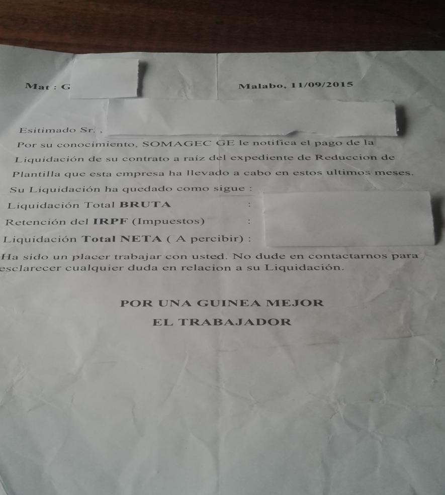 Modelo documento de liquidación que SOMAGEC ha empleado con los empleados de Annobón.