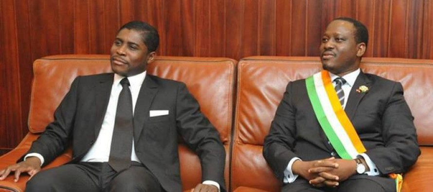 Teodoro Nguema Obiang Mangue (Guinea Ecuatorial) y Guillaume Soro (Costa de Marfil)