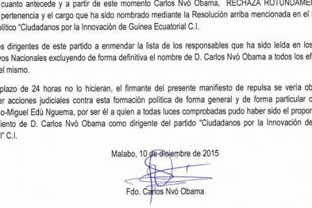 Carlos Nvó Obama niega pertenecer al Partido Político CI