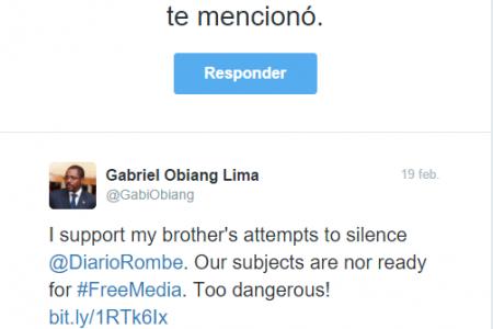 "Mbega Obiang Lima ""apoyo a mi hermano en su intento de silenciar Diario Rombe"""