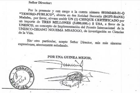 Documento clave desvela vínculo de corrupción entre UNESCO y Obiang