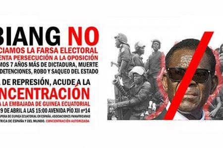 Concentración frente a la Embajada de Guinea Ecuatorial en Madrid