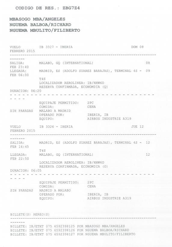 Billetes de avión de ida y vuelta a Guinea, donde Nguema recogió los pasaportes (ENCESTANDO.ES)