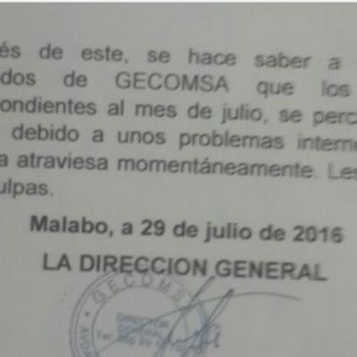"""GECOMSA  """"les pedimos disculpas a los trabajadores que llevan dos meses sin cobrar"""""""