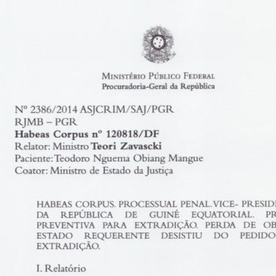 Teodoro Nguema Obiang solicitó en diciembre de 2013 el procedimiento de Habeas Corpus