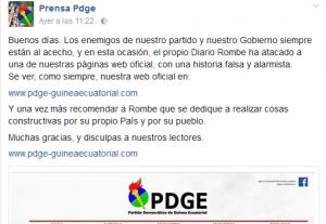 El Gobierno atribuye el hackeo de la web del PDGE a Diario Rombe