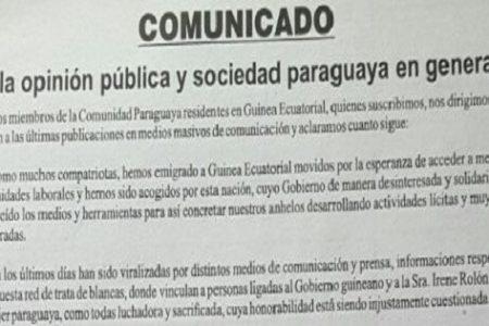 Reacciones de Paraguayos residentes en Guinea Ecuatorial en apoyo a Irene Rolón y Biyogo