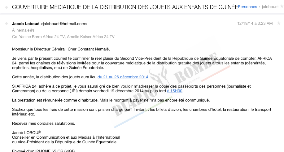 Ex asesor de Nguema Obiang, Jacob Laboué, confronta las declaraciones del Director de Africa24